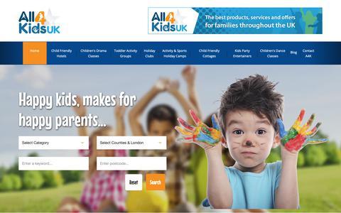 Screenshot of Home Page all4kidsuk.com - Kids Activities   Child Friendly Holidays & Kids Summer Camps - captured Oct. 19, 2018