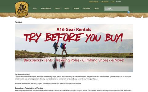 Screenshot of Services Page adventure16.com - Rentals  | Adventure 16 - captured July 24, 2016