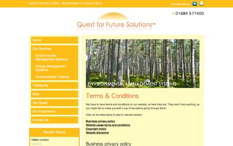 Screenshot of Terms Page questforfuturesolutions.co.uk - Terms & Conditions - Quest For Solutions - captured July 17, 2016