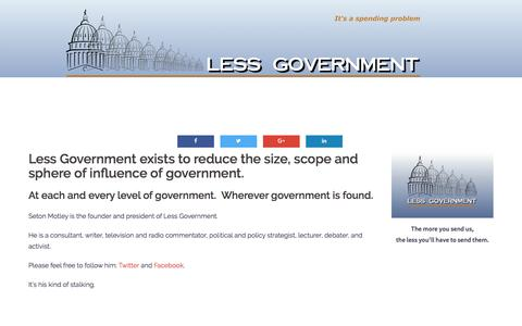 Screenshot of About Page lessgovernment.org - About Us – Less Government - captured July 18, 2018