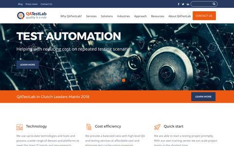 Screenshot of Home Page qatestlab.com - Independent software testing and QA provider – QATestLab - captured July 15, 2018