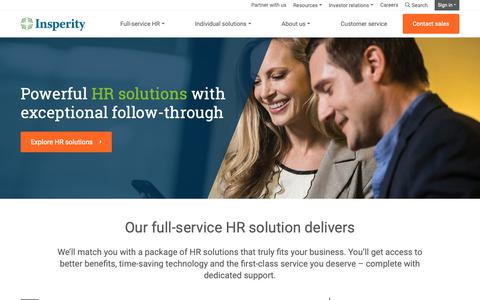 Screenshot of Home Page insperity.com - HR Outsourcing Services | Insperity® Business Performance Solutions - captured Dec. 11, 2018
