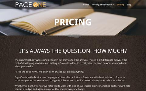 Screenshot of Pricing Page pageonepromotions.com - Pricing   Page One Promotions - captured Sept. 26, 2018