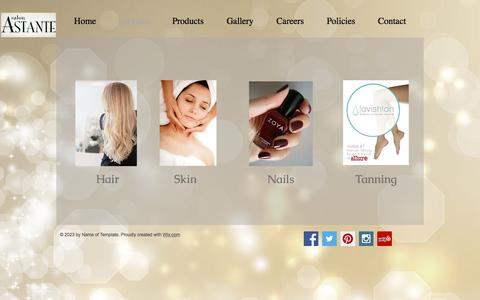 Screenshot of Services Page salonastante.com - salon-astante | Services - captured May 27, 2017