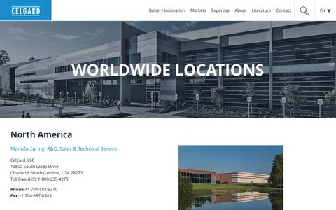 Screenshot of Locations Page celgard.com - Locations | Celgard - captured July 8, 2016