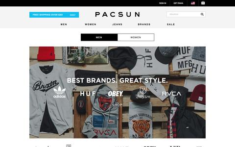 Screenshot of Home Page pacsun.com - California Lifestyle Clothing, Mens Clothing, Womens Clothing, Jeans, Tees, Hoodies, Boardshorts, Sneakers and Accessories at PacSun.com - captured Jan. 13, 2016