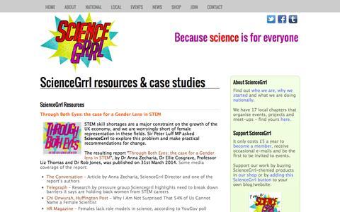 Screenshot of Case Studies Page sciencegrrl.co.uk - ScienceGrrl resources & case studies  - ScienceGrrl - captured Sept. 30, 2014