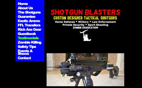 Screenshot of Testimonials Page shotgunblasters.com - Testimonials - captured Sept. 30, 2014