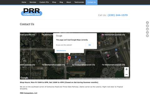 Screenshot of Contact Page prrcomputers.com - Contact Us | PRR Computers, LLC - captured Oct. 24, 2018