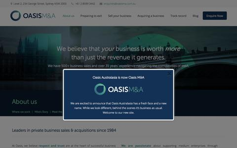 Screenshot of About Page oasisma.com.au - About Oasis: Mergers and Acquisitions, succession & exit planning - captured Aug. 11, 2016
