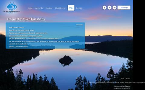 Screenshot of FAQ Page laketahoewealthmanagement.com - Frequently Asked Questions | Lake Tahoe Wealth Management, LLC - captured Oct. 1, 2014