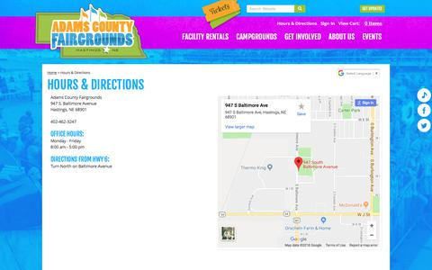 Screenshot of Maps & Directions Page adamscountyfairgrounds.com - Hours & Directions - captured July 3, 2018