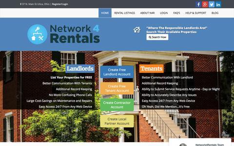 Screenshot of Home Page network4rentals.com - Property Rental Software Program - Network4Rentals - captured Feb. 23, 2016