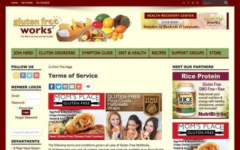 Screenshot of Terms Page glutenfreeworks.com - Terms of Service | Gluten Free Works - captured Nov. 11, 2016
