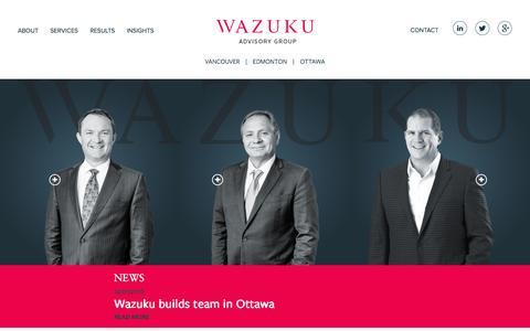 Screenshot of Home Page wazuku.ca - Wazuku Advisory Group - captured Feb. 24, 2016