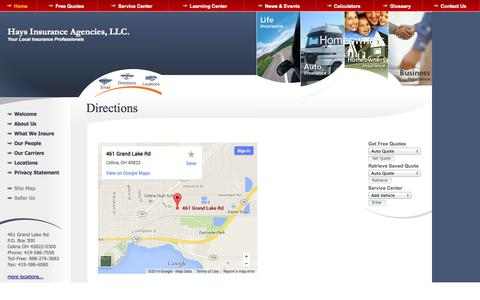 Screenshot of Maps & Directions Page haysinsurance.net - Hays Insurance Agencies  auto insurance  Celina, homeowners insurance . Agency Locations - captured Oct. 2, 2014