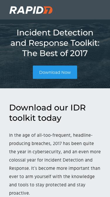 Screenshot of Landing Page  rapid7.com - Incident Detection and Response Toolkit: The Best of 2017