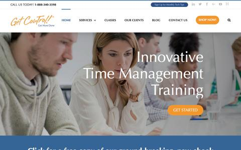 Screenshot of Home Page getcontrol.net - Time Management Training, Classes, eBooks | iPhone & Email Training - captured Nov. 7, 2016