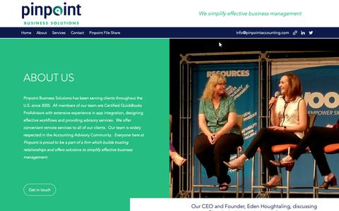 Screenshot of About Page pinpointaccounting.com - About | Pinpoint Business Solutions - captured Sept. 28, 2018