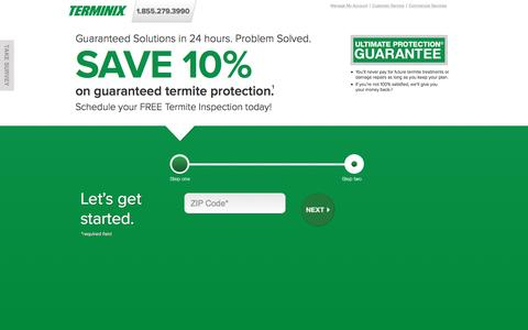 Screenshot of Landing Page terminix.com - Terminix | Termite Protection - captured Nov. 19, 2016
