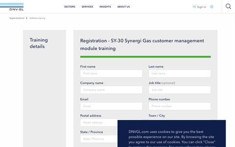 Screenshot of Support Page dnvgl.com - Synergi Gas customer management module training form - DNV GL - captured Dec. 7, 2019