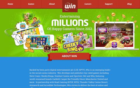 Screenshot of About Page win.com - About Win - The social casino games developer - captured Nov. 4, 2014