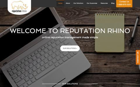 Screenshot of Home Page reputationrhino.com - Reputation Management – Brand Management | Reputation Rhino - captured Feb. 22, 2016