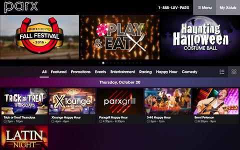 Screenshot of parxcasino.com - Parx Casino® | Calendar - captured Oct. 20, 2016