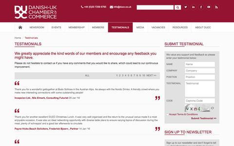 Screenshot of Testimonials Page ducc.co.uk - DUCC - Home Page - captured Feb. 8, 2016