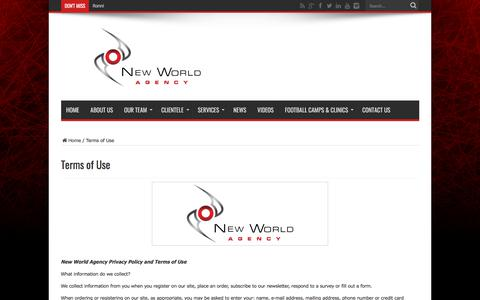 Screenshot of Terms Page newworldagency.com - Terms of Use - New World Agency official website | New World Agency is a sports management firm that aims to provide elite athletes with unparalleled professional representation in North America's most competitive and lucrative sporting associations. - captured Sept. 20, 2018
