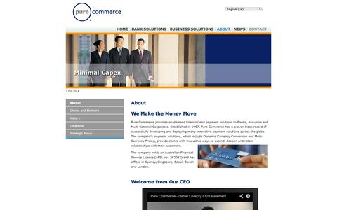 Screenshot of About Page pure-commerce.com - Pure Commerce: About us - captured Oct. 3, 2014
