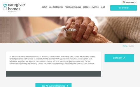 Screenshot of Jobs Page caregiverhomes.com - Caregiver Jobs & Careers   Caregiver Homes - captured April 11, 2019