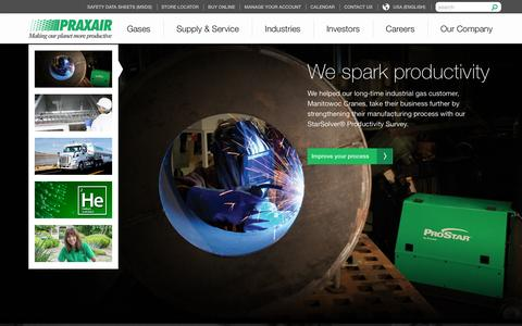 Screenshot of Home Page praxair.com - Industrial Gases, Supply, Equipment & Services | Praxair, Inc. - captured Jan. 18, 2016