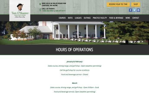Screenshot of Hours Page tamoshantergolf.com - Hours of Operation | Tam O'Shanter Golf Course - Canton, OH - captured Oct. 19, 2017