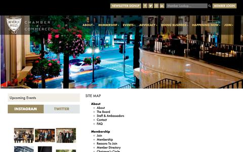 Screenshot of Site Map Page beverlyhillschamber.com - Site Map - Beverly Hills - captured Oct. 5, 2018