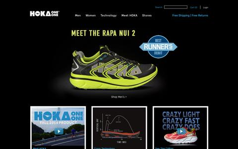 Screenshot of Home Page hokaoneone.com - HOKA ONE ONE Running Shoes for Men & Women | Official Site - captured Sept. 22, 2014