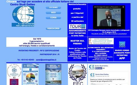 Screenshot of Home Page centrogalileo.it - CENTRO STUDI GALILEO - REFRIGERAZIONE, CONDIZIONAMENTO ED ENERGIE RINNOVABILI. CORSI: FORMAZIONE ED INFORMAZIONE - captured Oct. 2, 2014