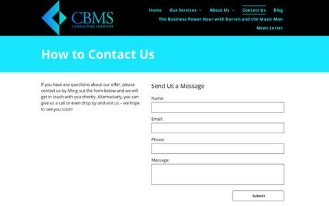 Screenshot of Contact Page cbms.co - CBMS Consulting Services - captured Sept. 28, 2018