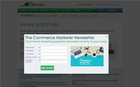 Screenshot of Press Page bronto.com - News and Press Releases | Bronto Software - captured Nov. 21, 2015