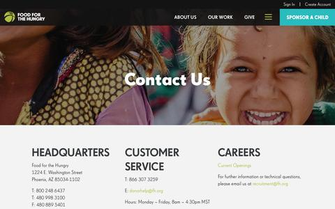 Screenshot of Contact Page fh.org - Contact Us - Food for the Hungry - Food for the Hungry - captured Oct. 14, 2017