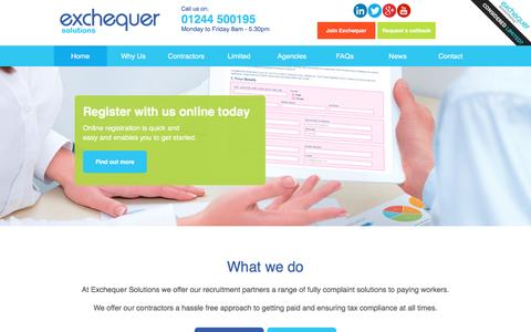 Screenshot of Home Page exchequersolutions.co.uk - Umbrella Company UK   Umbrella Payroll   Exchequer Solutions - captured Nov. 8, 2016