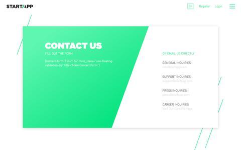 Screenshot of Contact Page startapp.com - Contact - StartApp - captured Nov. 5, 2017