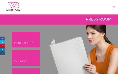 Screenshot of Press Page whitebookagency.com - PRESS ROOM - White Book Agency - captured June 13, 2017