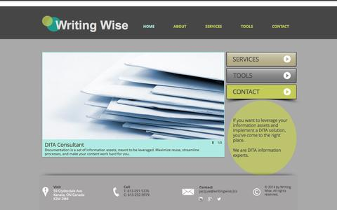 Screenshot of Home Page writingwise.biz - Writing Wise DITA Consultant Technical Writer - captured Sept. 30, 2014