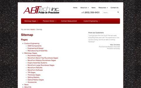 Screenshot of Site Map Page abtechmfg.com - Sitemap - ABTech - captured Oct. 4, 2014