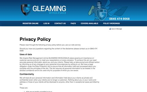 Screenshot of Privacy Page gleamingwholesale.co.uk - GLEAMING WHOLESALE - Contact Details. - captured Feb. 15, 2016