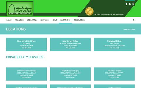 Screenshot of Locations Page accesshealthcareservices.com - LOCATIONS - ACCESS NURSING - captured Sept. 30, 2014