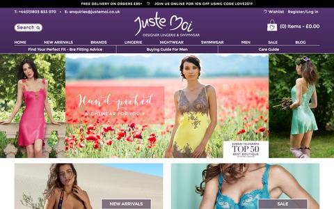 Screenshot of Home Page justemoi.co.uk - Discover French Lingerie Brands Online & Designer Swimwear - Juste Moi - captured June 8, 2017