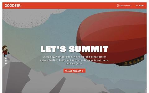 Screenshot of Home Page hellogoodsir.com - GOODSIR: A digital marketing agency. The web is our wild. - captured Jan. 15, 2016