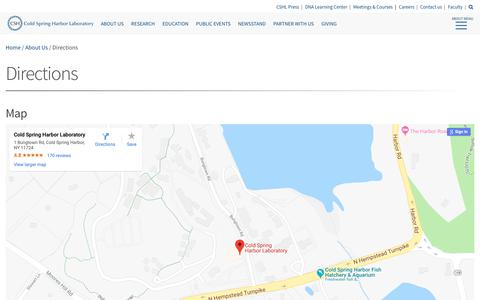 Screenshot of Maps & Directions Page cshl.edu - Directions - Cold Spring Harbor Laboratory - captured Sept. 28, 2018